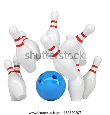 Blue ball knocks down pins for bowling. Isolated render on a white background - stock photo