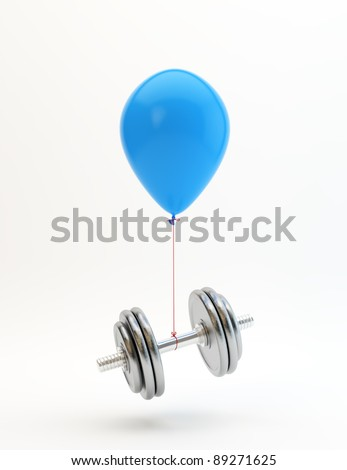 Blue balloon lifting a heavy dumbbell - stock photo