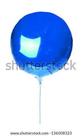 blue balloon round with a string for Valentine's Day  isolated on white background - stock photo