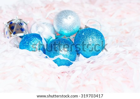 Blue balls for the Christmas tree on christmas decorations. tinsel - stock photo