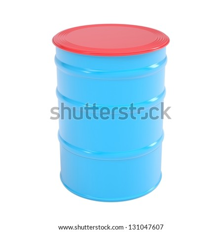 Blue barrel. Isolated render on a white background - stock photo
