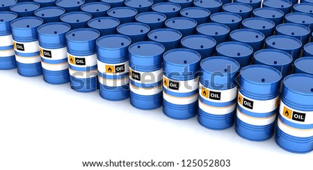 Blue barrels with oil on white background - stock photo