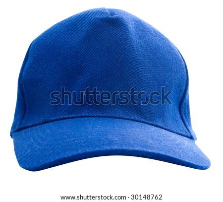 Blue baseball cap isolated - stock photo