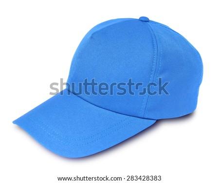 Blue baseball cap isolated on a white background - stock photo