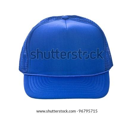 Blue baseball hat isolated on white - stock photo