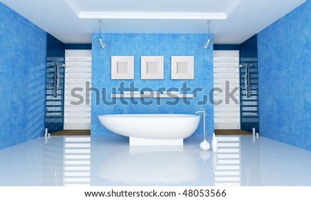 blue bathroom with fashion bathtub and double shower - rendering - stock photo