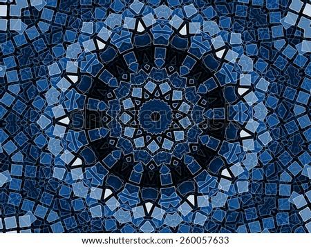 blue beautiful anstract mandala round design - stock photo