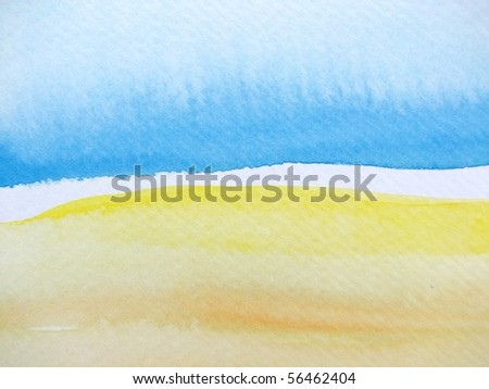 Blue Beige and Yellow Watercolor 3 - stock photo