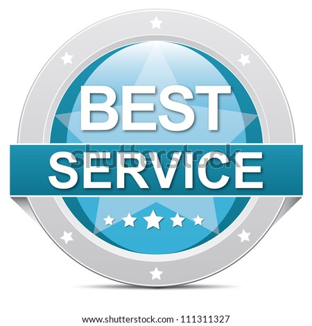 blue best service button banner on white - stock photo