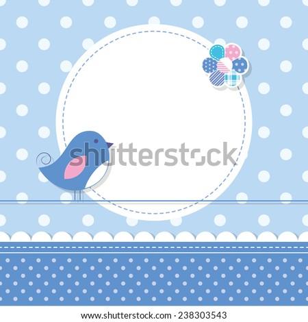 blue bird baby boy greeting card illustration  - stock photo