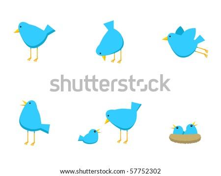 Blue Bird Icons - stock photo