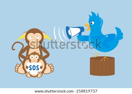 Blue bird is shouting through a megaphone on monkeys. - stock photo