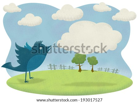 Blue bird with clouds - stock photo