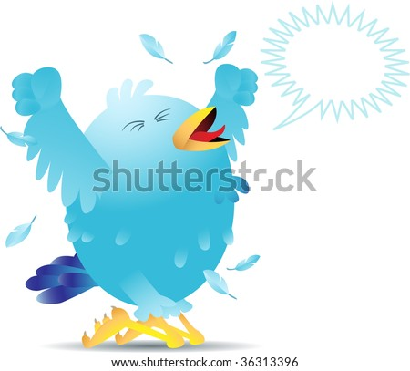 Blue bird yelling and screaming either in pain or joy. Bird can be used for social networking and is easily editable. - stock photo
