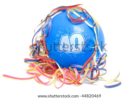 Blue birthday balloon for someone who is 40 years old with party streamers over white background - stock photo