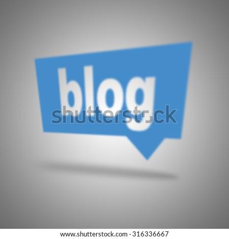 Blue blog speech bubble - stock photo