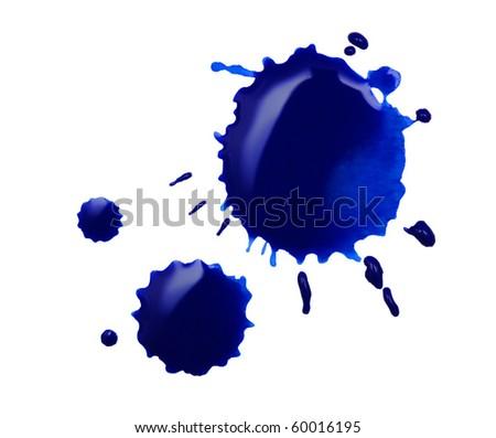 blue blot isolated on white - stock photo
