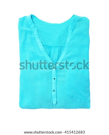 blue blouse isolated on a white background - stock photo
