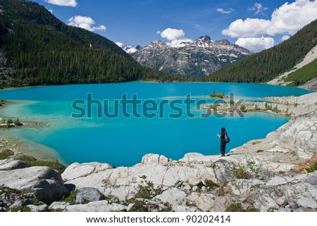Blue, Blue Joffre Lake - stock photo