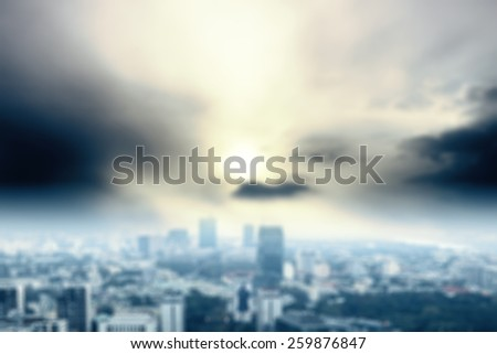blue blurred background of city  - stock photo