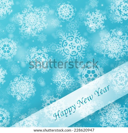 Blue blurry background with snowflakes. Raster version - stock photo