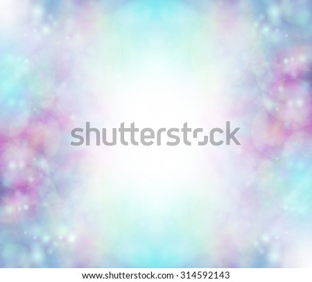 Blue Bokeh background border - soft bokeh blues, purples, pink with a white graduated center creating a frame effect ideal for baby boy birth and christening events - stock photo