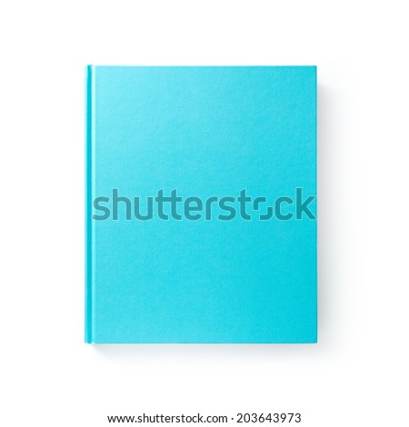 Blue book with empty cover isolated on white  - stock photo