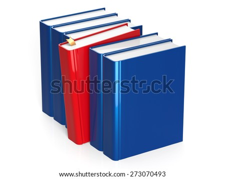 Blue books row with one red selected leadership choosing take answer blank covers standing textbook template. Studying grab education index content icon concept. 3d render isolated on white background - stock photo