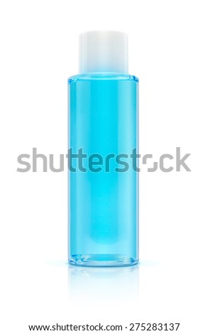 Blue bottle cosmetic packaging of toner isolated on white background - stock photo