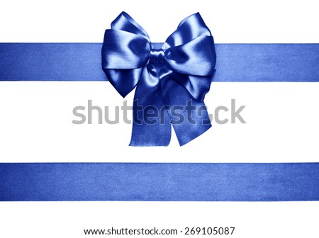 blue bow and ribbon made from silk  - stock photo