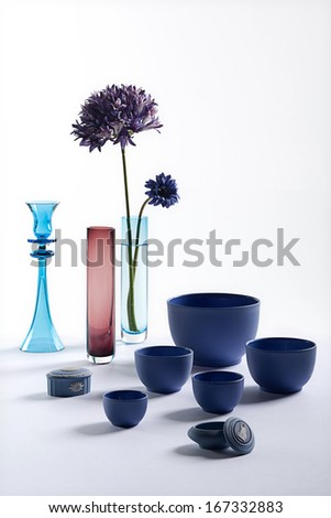 Blue bowl and vase still - stock photo