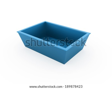 Blue bowl rendered isolated on white background - stock photo