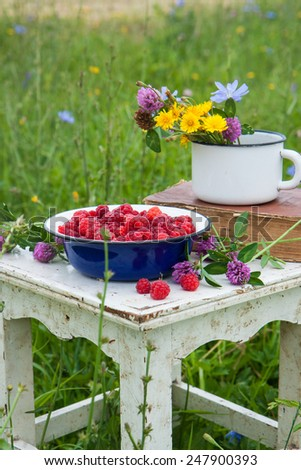 Blue bowl with raspberries, old book and cup with field flowers on the rustic white chair  - stock photo
