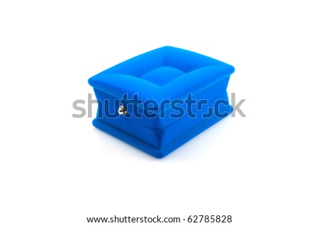 Blue box for jewelry. Isolate on white. - stock photo