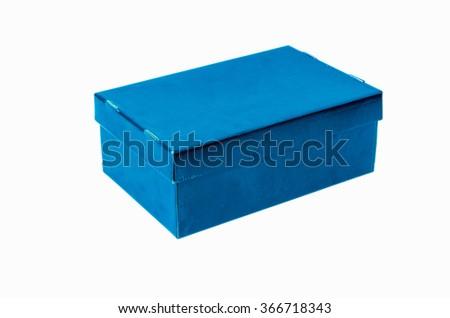 Blue box on white background - stock photo
