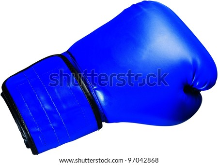 Blue boxing glove - stock photo