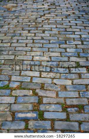 Blue Brick Cobblestone Streets in Old San Juan Puerto Rico - stock photo