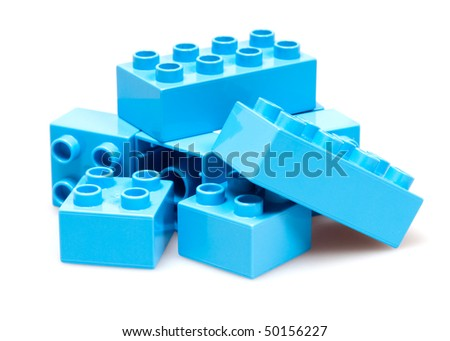 blue bricks isolated on white - stock photo