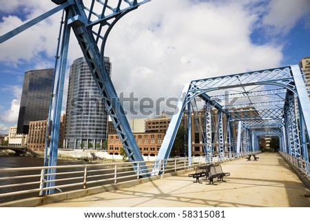 Blue bridge in Grand Rapids, Michigan, USA. - stock photo