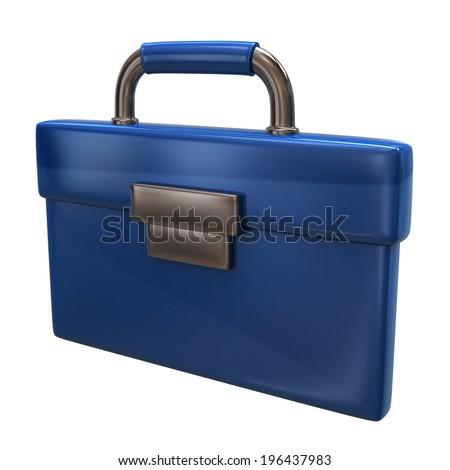 Blue briefcase icon - stock photo