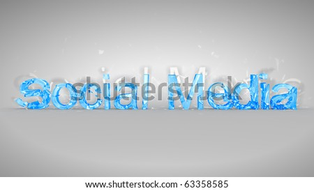 Blue broken Social Media words over grey background - stock photo