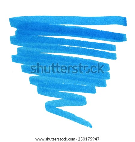 blue brush stroke pen scribbles, elements for your design - stock photo