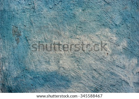 Blue brushed concrete wall. Vintage effect.  - stock photo