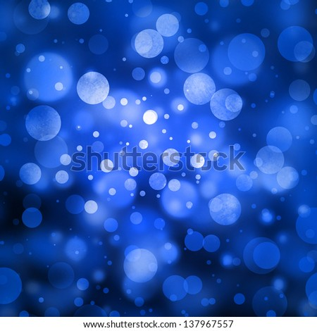 blue bubble background glitter lights round shapes geometric circle background sparkling fantasy dream background white blue snowflake abstract winter Christmas background blur bokeh background, black - stock photo