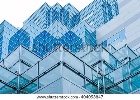Blue buildings at Ikebukuro area of Tokyo in Japan - stock photo
