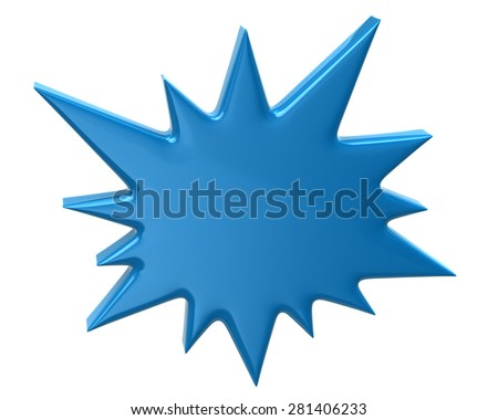 Blue bursting star icon - stock photo