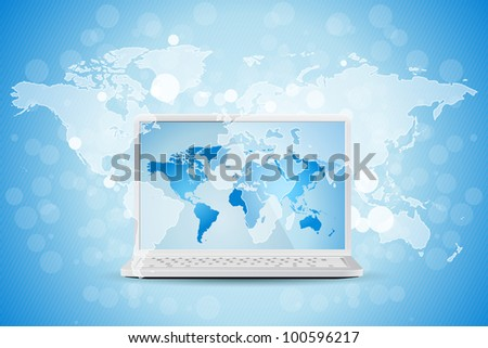 Blue Business Background with World Map and Modern Laptop - stock photo
