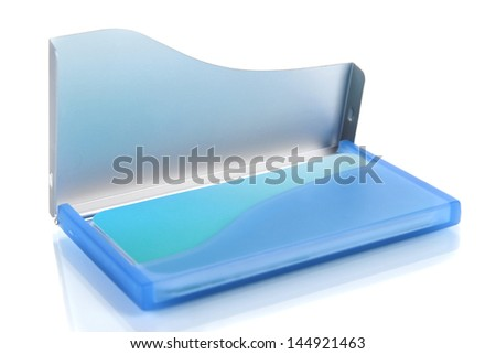 Blue business card holder isolated on white - stock photo
