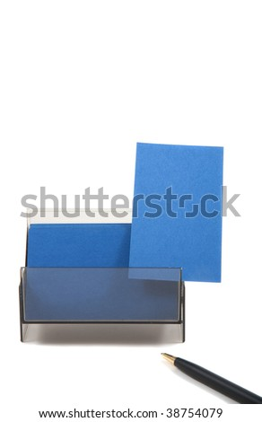 Blue business card with empty space for text. Isolated on white background - stock photo
