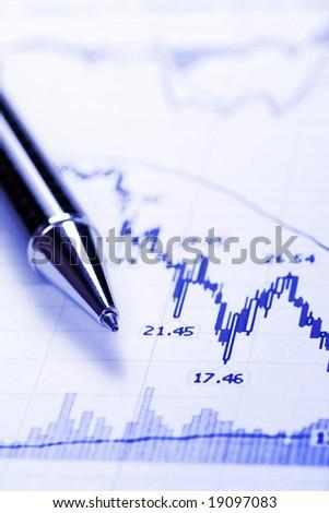 Blue Business Chart - Crash, Decreasing Graph, Focus On Tip Of Pen - stock photo